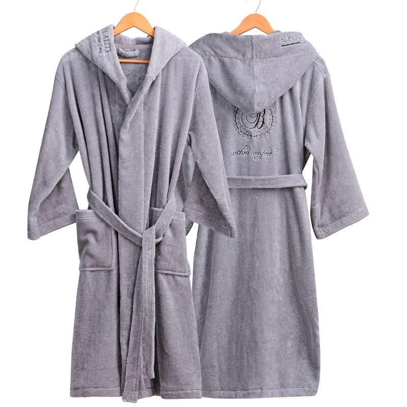 Épais coton peignoir à capuche hommes bain Robes messieurs Homewear homme vêtements de nuit salons pyjamas peignoirs hiver automne blanc