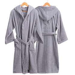 Dikke Katoenen Badjas Hooded mannen Badjassen Heren Homewear Mannelijke Nachtkleding Lounges Pyjama Badjassen Winter Herfst Wit