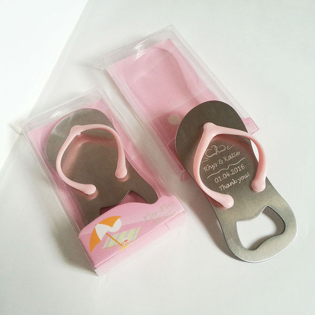 caa1a1fcffa0c6 30pcs Pink Flip Flop Thong Bottle Opener in Gift Box Personalized Wedding  Favor Beach Themed Wedding