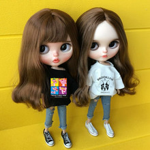 2pcs/set blyth doll Clothing white T-shirt+jeans for 1/6 doll,Blyth clothes Acce