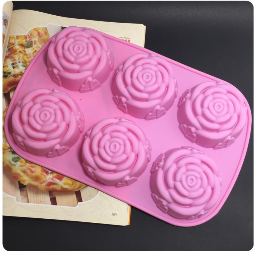 200pcs lot DIY silicone mold 6 lattices rose cake pudding molds soap molds Free shipping