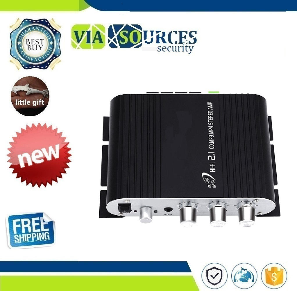 Mini Hi-Fi Stereo Amplifier Booster DVD Car Auto Motorcycle Home Audio Stereo Bass No Power Plug Speaker Amplifier