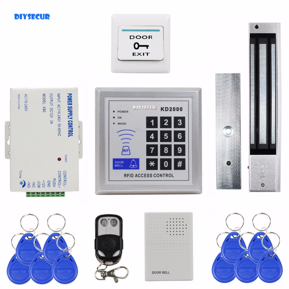 DIYSECUR Remote Control Door Bell 125KHz RFID Keypad Access Control System Security Kit + 280kg 600lb Magnetic Lock KD2000 diysecur rfid keypad door access control security system kit electronic door lock for home office b100