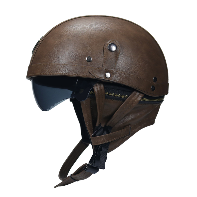 Adult Motorcycle Vintage PU Leather sun visor and Retractable GoggleDetachable Warm Collar Buy 5 helmets and