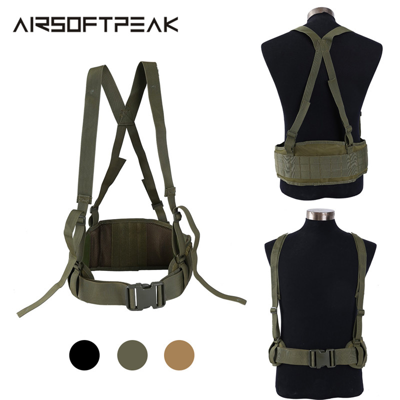 Tactical Gear Waist Molle Belt Men Airsoft Combat Shooting Suspender Adjustable Waist Support Army Hunting Military Accessories