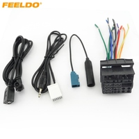 Car Stereo Head Unit Wiring Harness With FRAKA Radio Anatenn Jack USB AUX Cable For Volkswagen