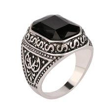 Size 7-12 Men Rings Big Black/Red Carved Stone Antique Silver Plated Ring For Women Retro Texture Engraved Wholesale Lover ring