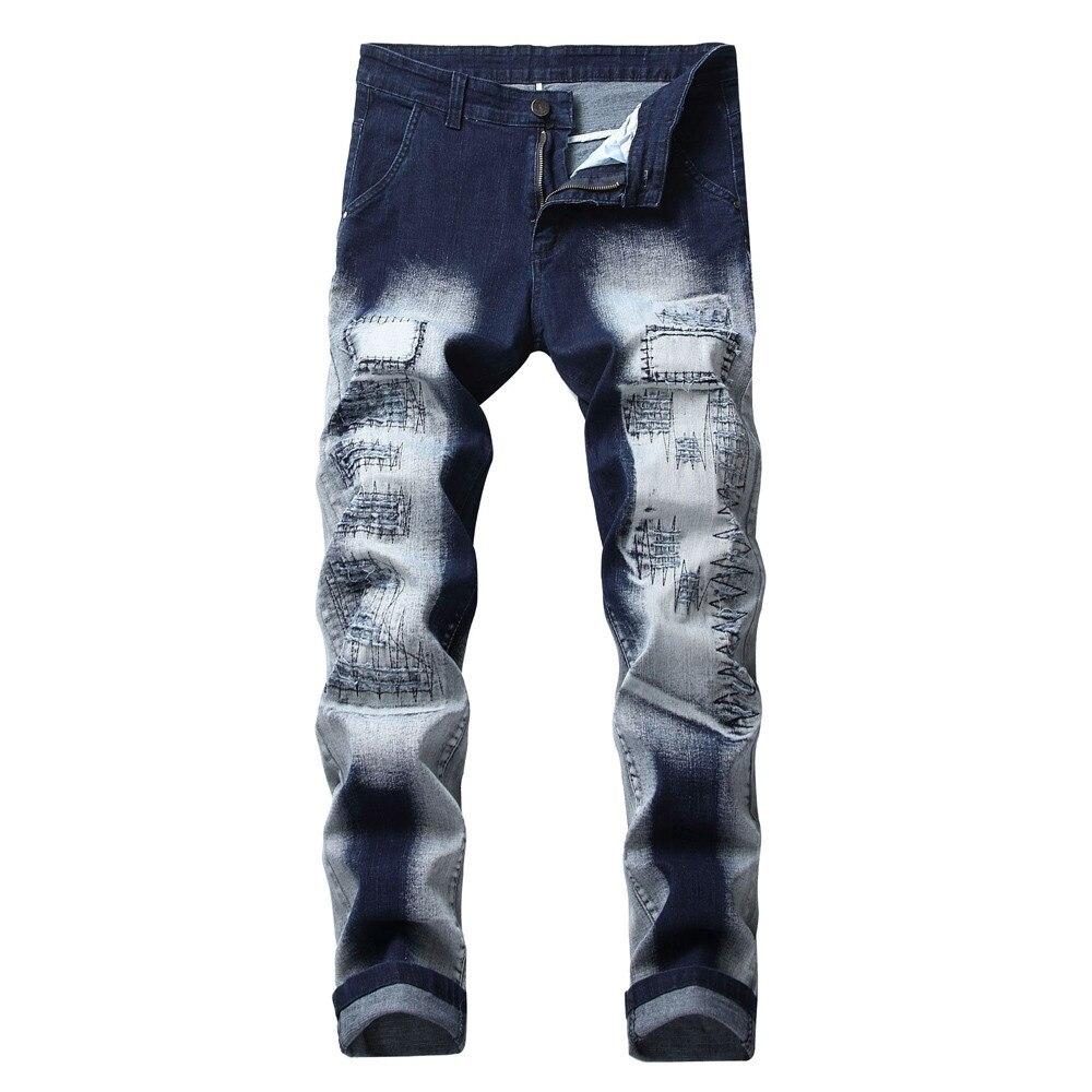 2019 Tops New Fashion Casual Soft Men's Vintage Hole Jeans Denim Folds Wash Work Frayed Printed Zipper Basic Pants
