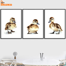 Watercolor Duck Nurser Wall Art Canvas Painting Cartoon Animal Nordic Posters Prints Pictures Girl Boy Baby Kids Room Decor