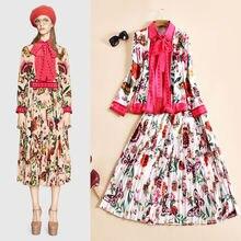 2016 woman spring autumn fashion elegant flower prints top shirt +A-line skirt casual 2 piece set designer outfit D6868