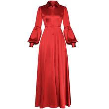 макси подиума платье воротником-фонариком
