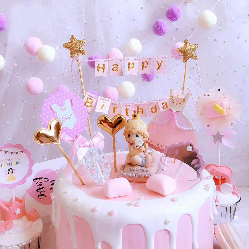 Pleasing Soft Pink Happy Birthday Cake Bunting Topper Girl Princess Cake Funny Birthday Cards Online Elaedamsfinfo