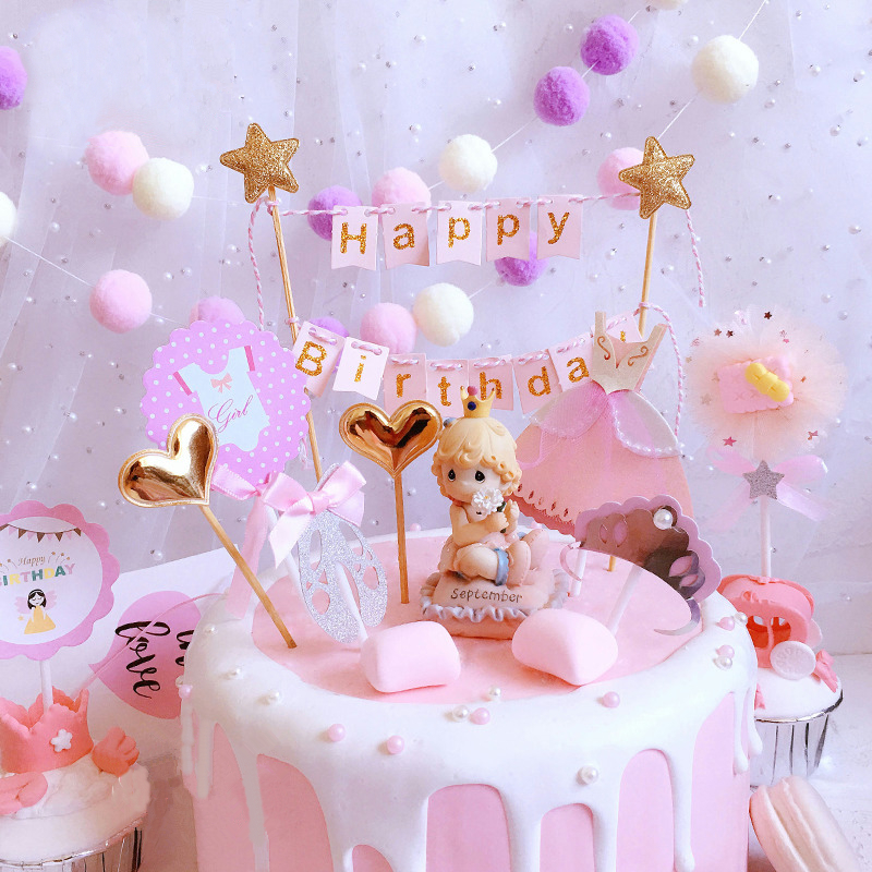 Soft Pink Happy Birthday Cake Bunting Topper Girl Princess Cake Garland Banner Ballet Baby Shower First 1st Birthday Decoration Cake Decorating Supplies Aliexpress