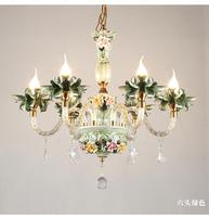 Italy style Ceramic Chandeliers Lamp for wedding room Restaurant Candle Crystal Ceiling fixtures European Style Bedroom lighting