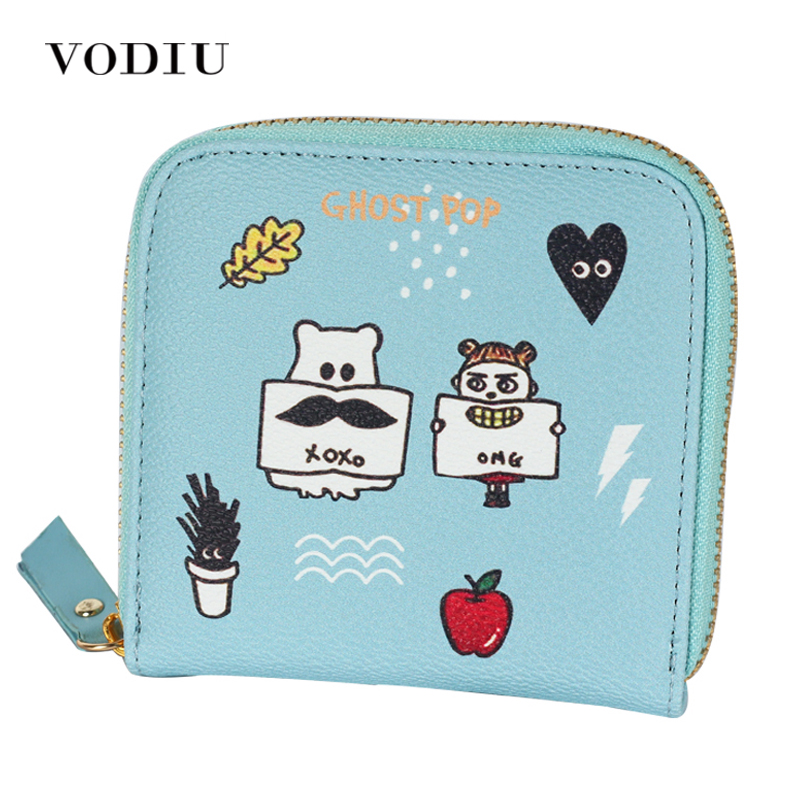 2016 Korean Vintage Cute Anime Cat Leather Women Slim Mini Wallet Girl Small Purse Female Coin Credit Card Holder Dollar Price women cute cat wallet small zipper girl wallet brand designed pu leather women coin purse female card holder wallet