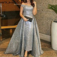 Silver Sequined Mother Of The Bride Dresses Gown Detachable Overskirt Plus Size Kaftan Off Shoulder Long 2018 Prom Evening Dress