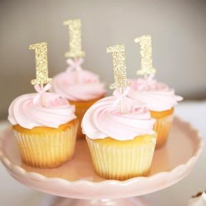 Image 5 - 6/10 Pcs גליטר נייר אחד Cupcake Toppers ראשון מסיבת יום הולדת קישוטי 1st יום הולדת שלי 1 שנה תינוק ילד ילדה וגינה