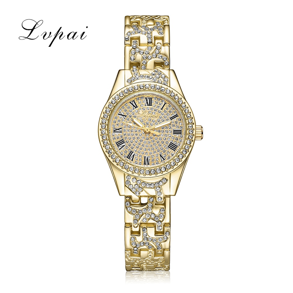 Lvpai Brand Quartz Steel Watch Women Luxury Dress Fashion Wristwatch Crystal Gold Silver Ladies Bracelet Women Watch Clock new arrival modern chinese style bamboo wool lamps rustic bamboo pendant light 3015 free shipping