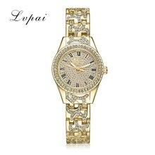 Lvpai marca de cuarzo mujeres del reloj de acero de lujo vestido reloj de la manera oro plata cristal pulsera de las señoras reloj de las mujeres reloj