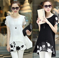 2016 Women Summer New short sleeved chiffon shirt dress embroidered plus large size women dress vestidos mujer