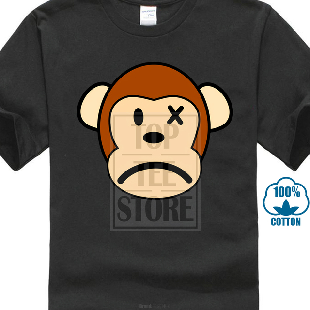 2018 sad monkey face print men t shirt black t shirts wholesale