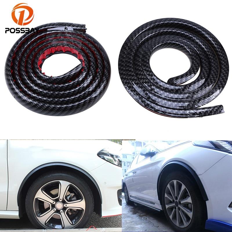 POSSBAY 2Pcs 1.5m Imitation Carbon Fiber Splash Guards Wheel Lip Car Protect Decoration Strip Mudguards Car Fender Flares Arch