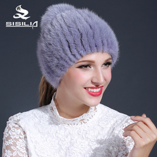 2016 new women winter knitted mink fur beanies  cap 100% real mink fur hat female cap