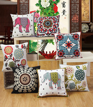 Flower elephant pattern embroidery cotton car sofa cushion cover decorative polishing pillowcase home decoration 45x45cm