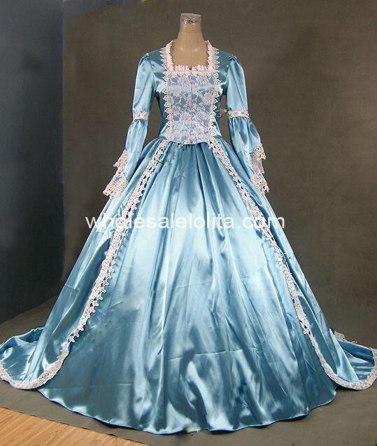 18th века тема детское платье синего и белого цвета с кружевом времен Марии Антуанетты платье, сценический костюм