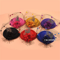 La nueva variedad Sra. Retro encanto sombrero de lana de pelo nudo del banquete de boda velo