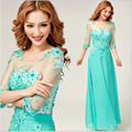 2016 New Design Women Fashion Dresses Fit & Flare Half-Sleevele Long Gown Floor-Length Formal Dresses Vestidos Party Clothes