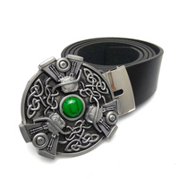 Fashion Black PU Leather Belts For Men With Celtic Punk Style Motorcycle Motor Turquoise Inlaid Metal