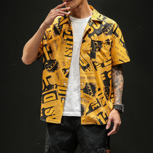 Brand New Men Shirt Creative Printing Mens Shirt Pocket White Yellow Summer Shirt For Men
