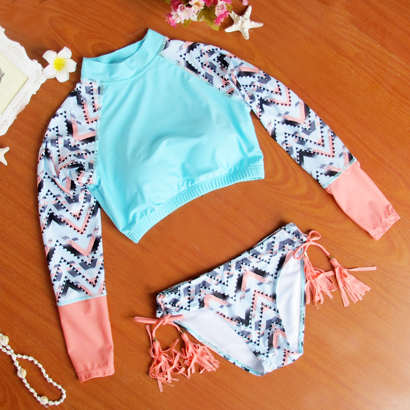 f3a4d2d991b 2016 New Korean Style Long Sleeve Bikini Sexy Hot Maillots De Bain Crop Top  Biquini Retro Swimsuit Women High Quality on Aliexpress.com | Alibaba Group