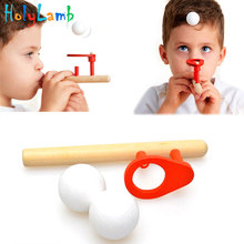 Baby Wooden Puzzle Toys Kids Blowing Ball Balance Training Blow Ball Rod Children Boys Girls Learning Educational Toy schylling blow toys hobbies outdoor fun sports toy ball foam floating ball game children wooden education kids baby gift