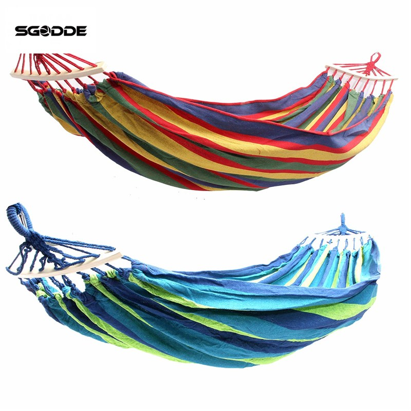 SGODDE Double 2 Person Hammock Green Fabric 450lb Air Hanging Swinging Outdoor Camping Hammock army green khaki double outdoor hammock