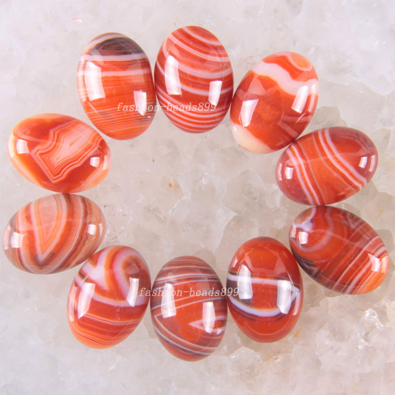 Free Shipping Fashion Jewelry 13x18MM Natural Orange red Veins Onyx CAB Cabochon 10Pcs K1615