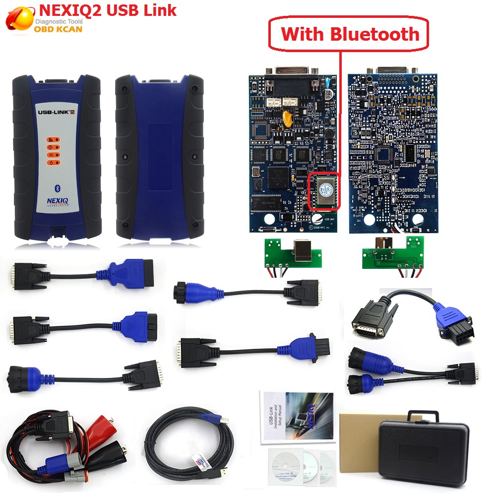 NEXIQ 2 USB Link Diesel Truck Diagnostic Tool NEXIQ2 With Bluetooth With Plastic Box for Heavy Duty Truck NEXIQ 2 +Software DHL