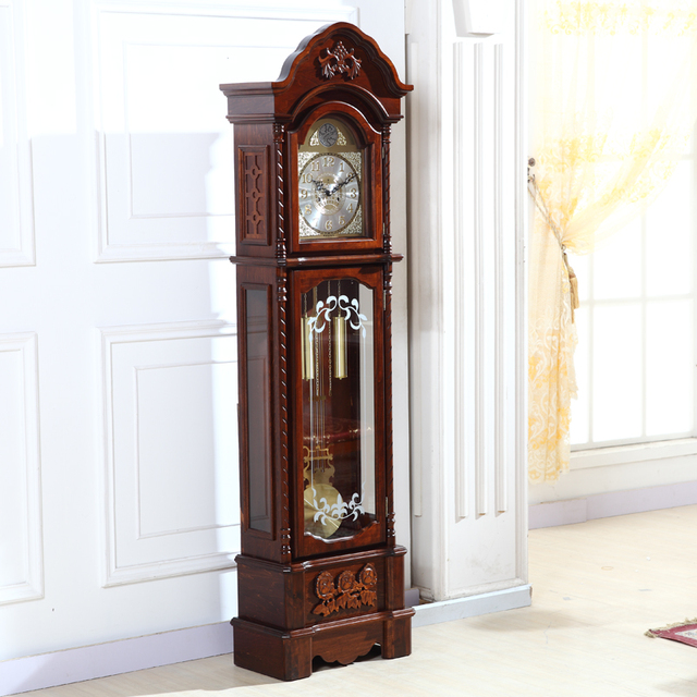 North Grandfather Clock Original Wood Living Room European Standing Bell Mechanical Movement Watches And Clocks