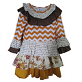 Recién llegado de las niñas mostaza Pie Remake Fall Dress Chevron Stripes con la flor con encanto Ruffles Chrildren ropa BT017