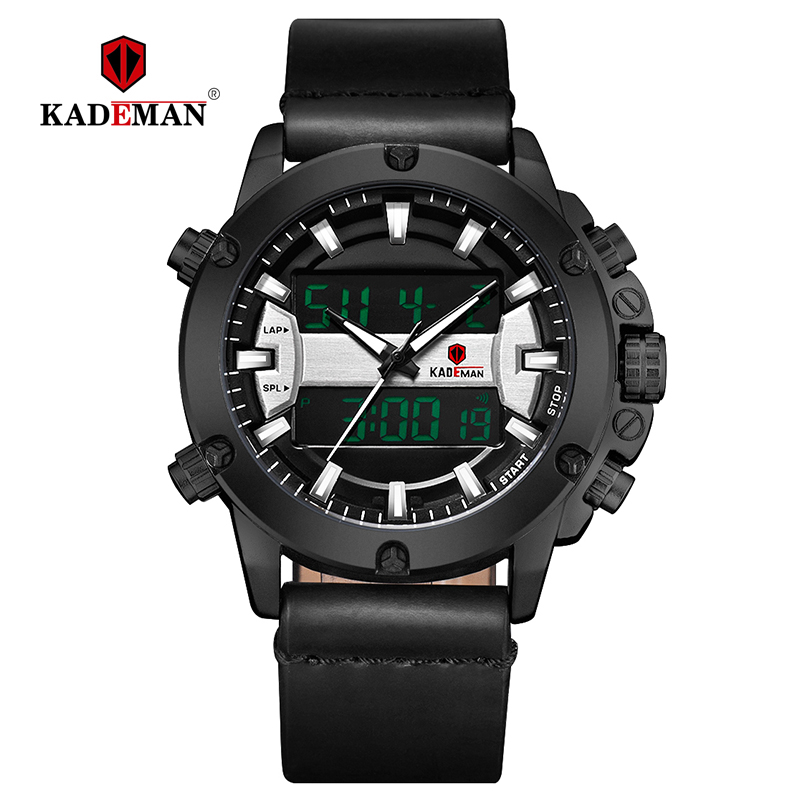 KADEMAN Mens Watches Luxury Sports Watch Fashion Male Military Wristwatches 3ATM Casual Leather Band Relogio Masculino K806 in Digital Watches from Watches