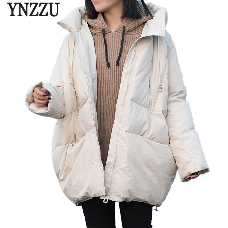 YNZZU High Quality Winter   Parkas   Women 2018 Korean Casual Mid-long Bio-Down Jackets Hooded Warm Down   Parka   Loose Outwears O660