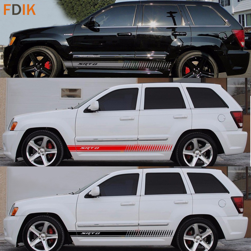 Sport Racing SRT8 S Body Door Waist Line Graphics Vinyl Decals Sticker For Jeep Grand Cherokee 2014 2015 2016 2017 2018