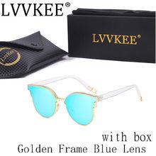 Lvvkee Мода Марка Дизайнер Cat Eye Солнцезащитные Очки Женщины Ретро Солнцезащитные Очки Металлические Старинные Очки Леди Очки Личности 7709