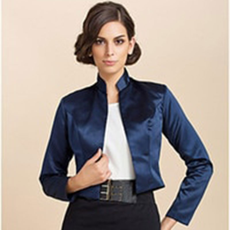Mingli Tengda Custom Made Bridal Satin Jacket Wrap Wedding Fashion Collar Shrug Long Sleeves Bolero Jacket Women Navy Caps Cape