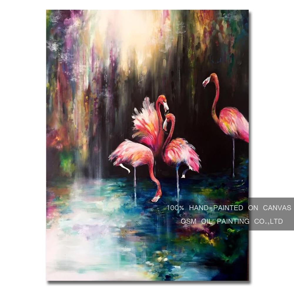 Artiste professionnel Reproduction de haute qualité flamant rose peinture à l'huile sur toile à la main drôle animaux flamants roses peinture à l'huile