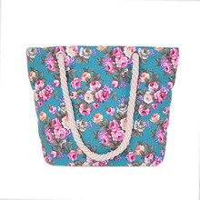 2016 new women canvas bag flower printing handbags women casual shoulder bags shopping bag all-match Beach handbags totes