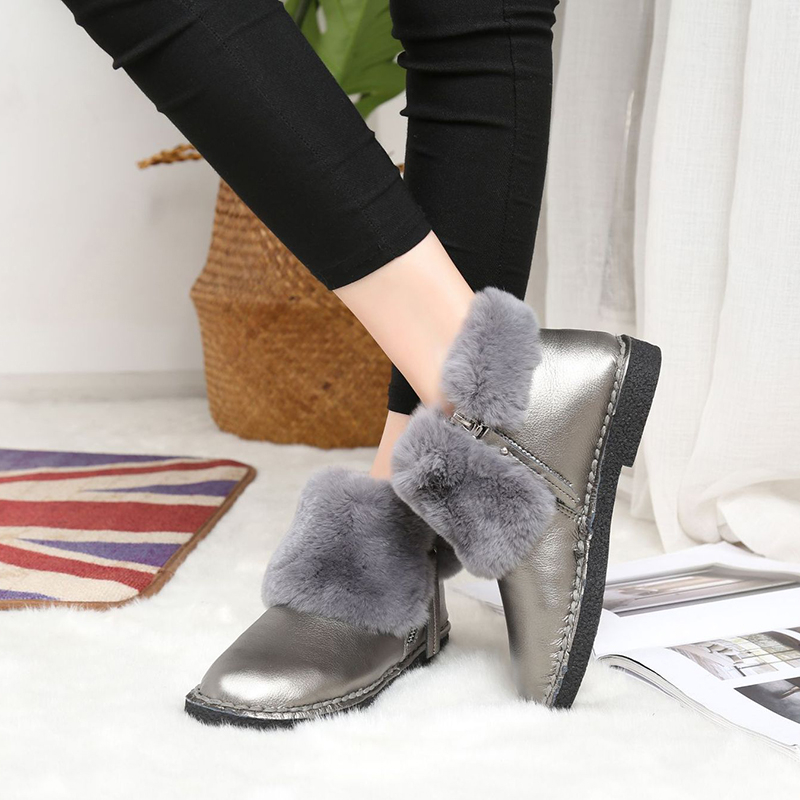 Women Snow Boots Ankle Fur Flat Winter Boots Platform Women Shoes Black Silver Slip On Zipper Boots Warm Fashion Ladies Shoes taima brand new arrival winter fashion women boots warm fur ankle snow boots black ladies style winter women shoes page 2