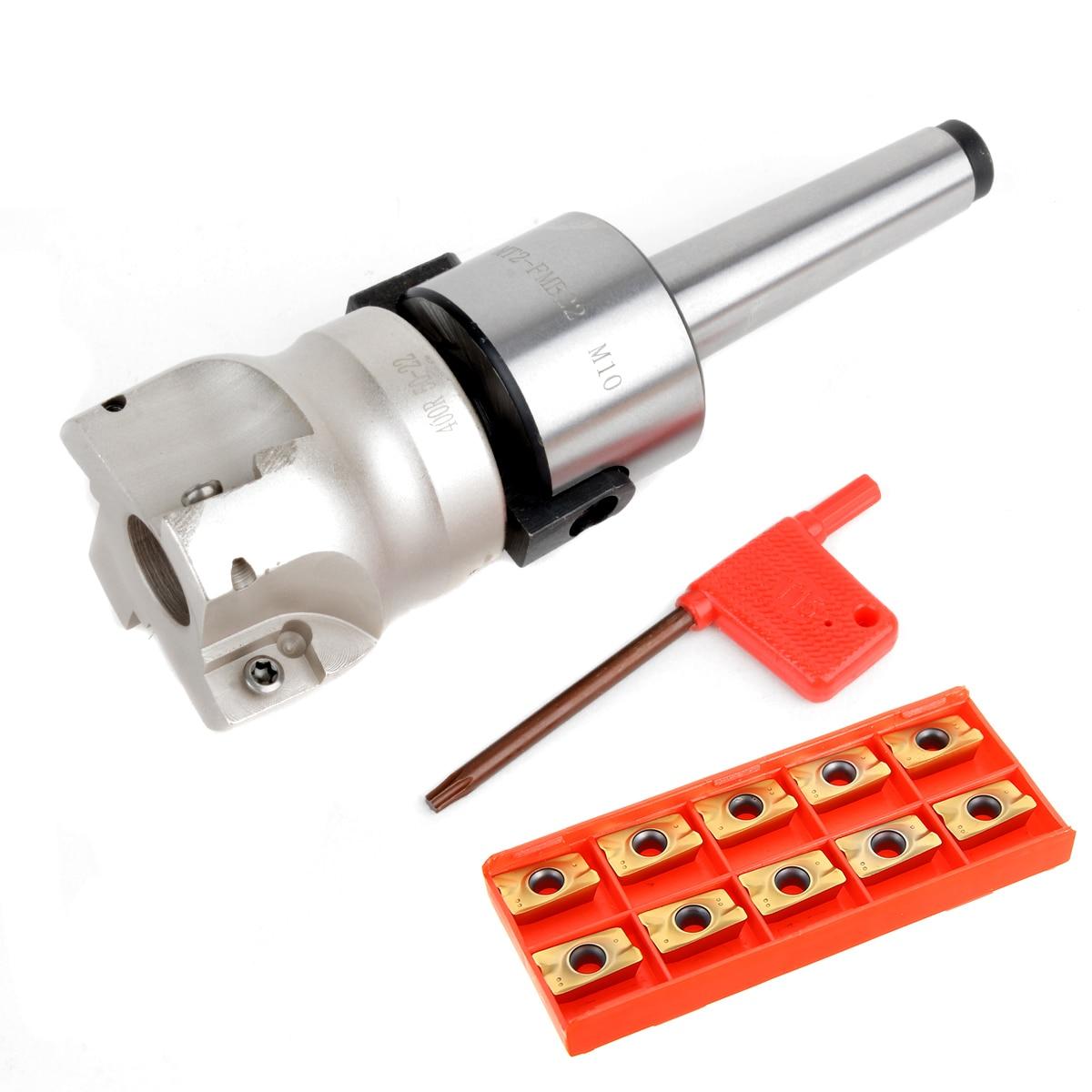 MT2 400R 50mm Visage Fraise + 10 pièces Carré APMT1604 Carbure Inserts avec T15 Clé Pour Plaque De Coupe De Fraisage