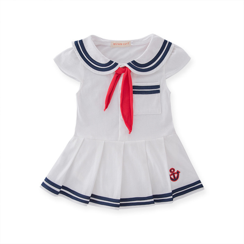 Baby Girl Dresses Newborn Cotton Dress Summer Cotton Baby Rompers for girls Navy Sailor Dress Bebes Jumpsuit baby clothing Hat 2016 summer short sleeve baby boy sailor suit jumpsuit infant clothing navy newborn baby rompers